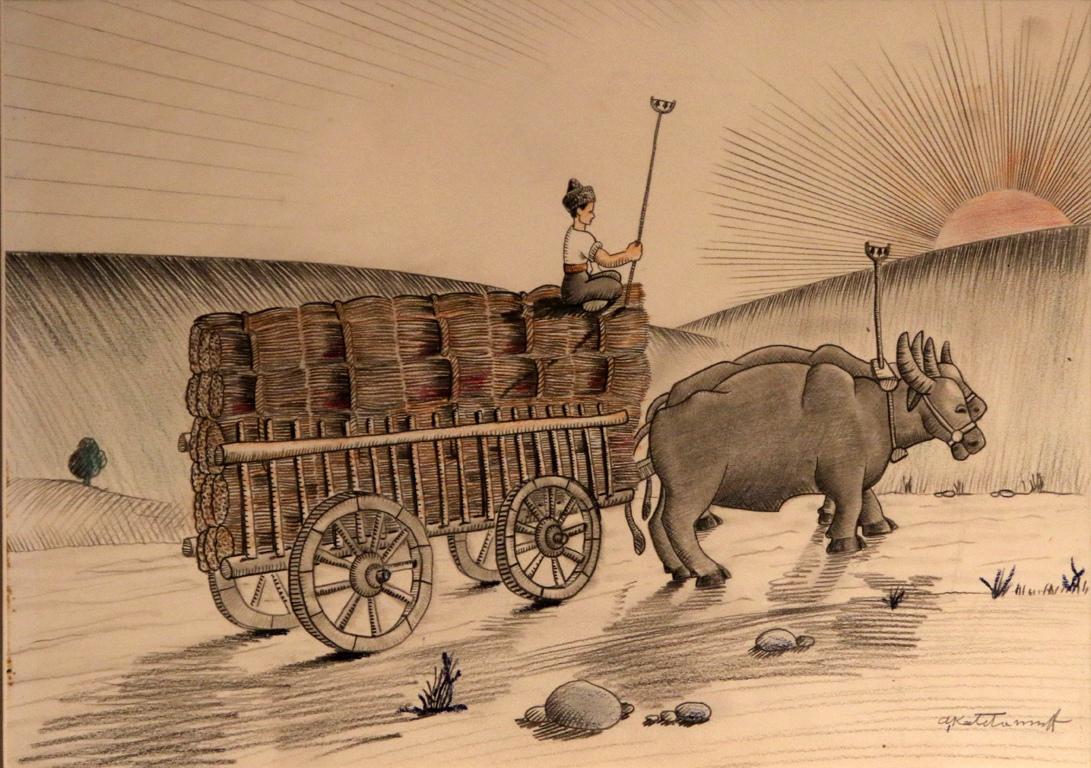 <p>Скрибуцат и пъшкат колите под тежестта на златните снопи.</p>  <p>Биволите пъплят по пътя.</p>  <p>Седнал високо на натоварената кола, момъкът ги направлява гордо към дома.</p>
