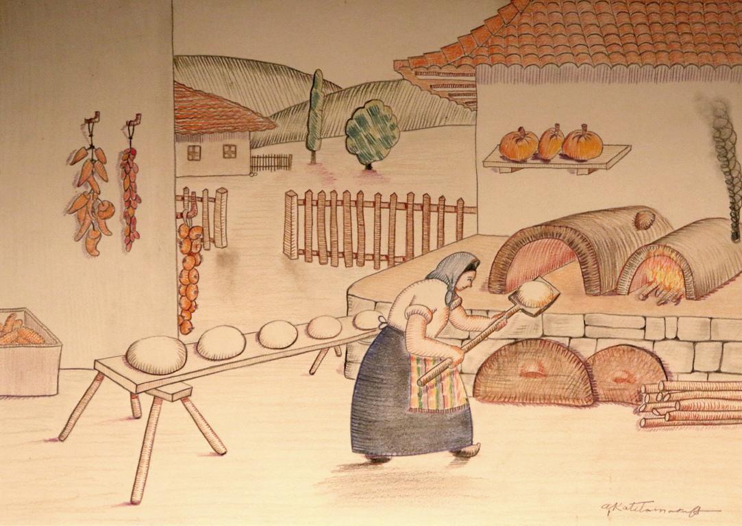 <p>Тестото се надига под месалите. Пламъци обгарят глинената фурна в огнено червено.</p>  <p>Тестото обича да дремне във фурната на чисто, затова предварително се измитат пепелта и въглените.</p>  <p>След часове във фурната бледите меки парчета тесто се превръщат в хрускащи вкусни загорели кафяви хлябове - дар след толкова месеци труд. Това е нашият ежедневен хляб.</p>