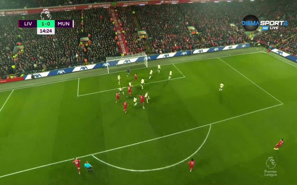Отборите на Ливърпул и Манчестър Юнайтед играят при резултат 1:0