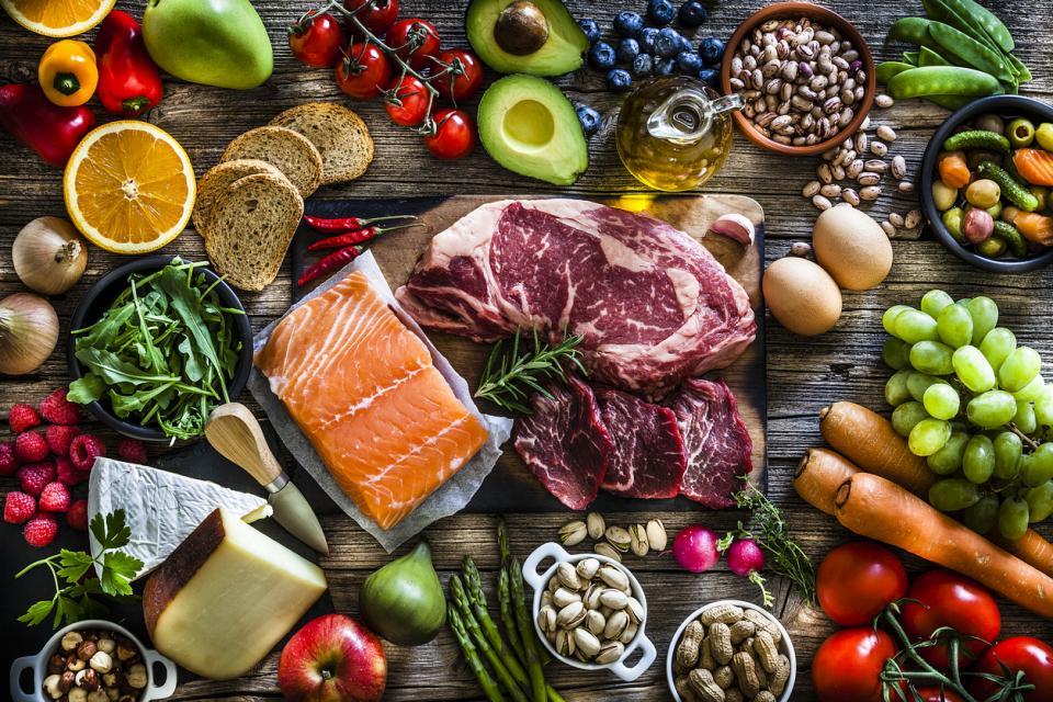 здравословно храна маса плодове зеленчуци месо