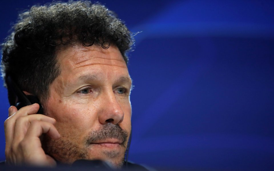 Наставникът на Атлетико Мадрид Диего Симеоне очаква тежък сблъсък с