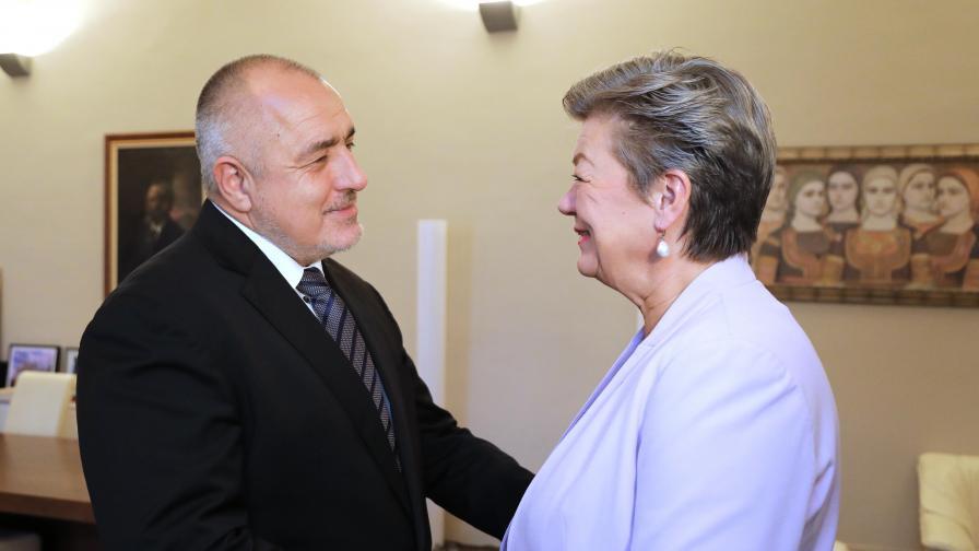 Премиерът Борисов на среща с европейския комисар по вътрешни работи Илва Йохансон в МС