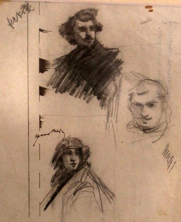 <p>Три ескизни рисунки - глави, 1913 г.</p>
