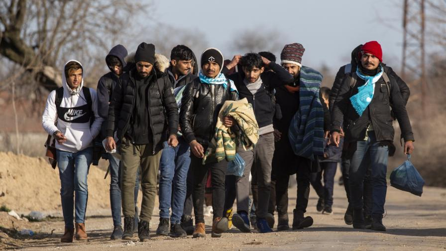 Група мигранти вървят към турско-гръцката граница