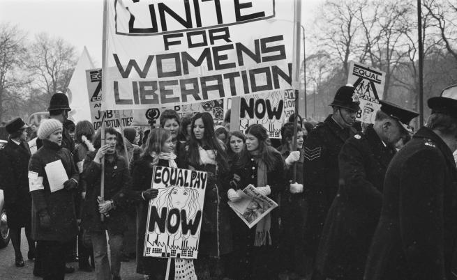 Протест на жени през 70-те години в Лондон