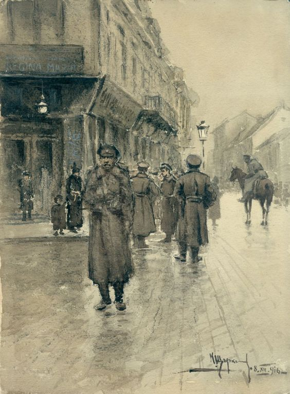 <p>Константин Щъркелов (1889&ndash;1961) Пейзаж от освободен български град в Добруджа, 1916 акварел върху картон</p>