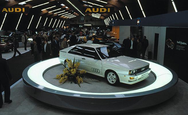 Audi quattro по време на премиерата си на автомобилния салон в Женева през 1980 г.