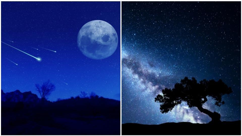 падащи звезди небе луна