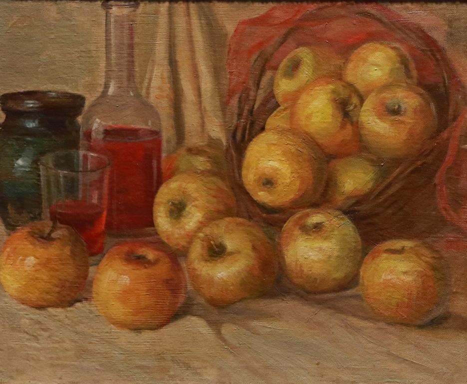 <p>Натюрморт с ябълки</p>  <p>Роден скоро след Освобождението, през целия си дълъг живот художникът запазва своя искрен интерес към жанровата сцена, към едрата фигура и групи фигури, към разнообразието и особеностите на родния пейзаж.</p>  <p>&nbsp;</p>
