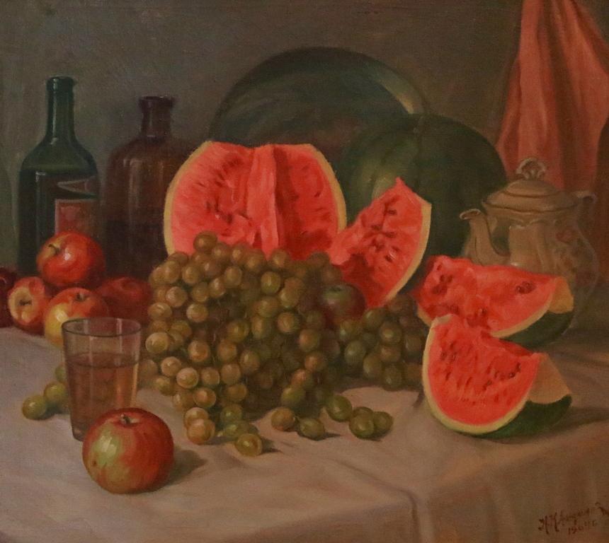 <p>Натюрморт с диня и грозде</p>  <p>От наследници, собственици и търговски галерии той е придобил голяма сбирка от почти всички запазени творби на Никола Андонов.</p>