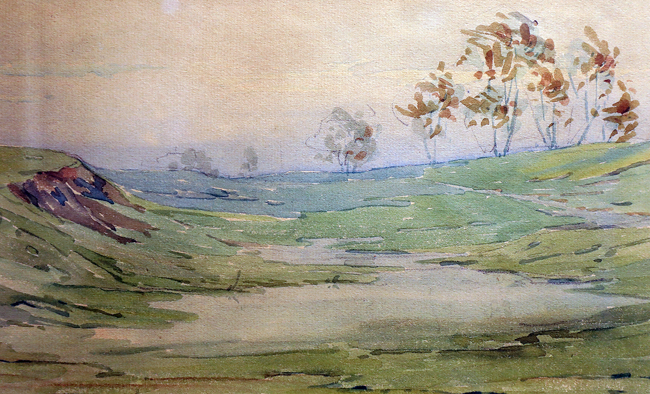 <p>Константин Щъркелов (1889 - 1961)</p>  <p>Пейзаж, 1915 акварел, хартия</p>