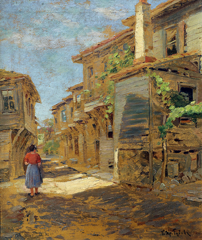 <p>Георги Христов &ndash; Рубев (1897 - 1975)</p>  <p>Пейзаж с къщи, 40-те г. на ХХ в. маслени бои, платно</p>