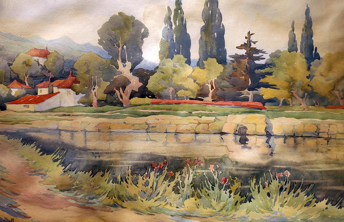 <p>Стоян Райнов (1894 - 1978)</p>  <p>Пейзаж, 1927 акварел, хартия</p>