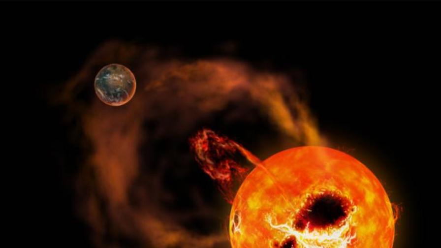 Илюстрация на AD Leonis и гигантските ѝ изригвания