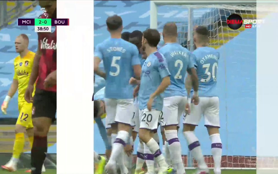 Габриел Жезус удвои преднината на Манчестър Сити срещу Борнемут в
