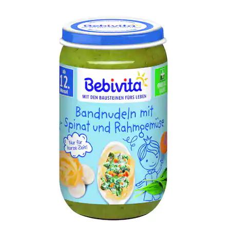 Пюре Bebivita Паста със спанак, зеленчуци и сметана, 250г