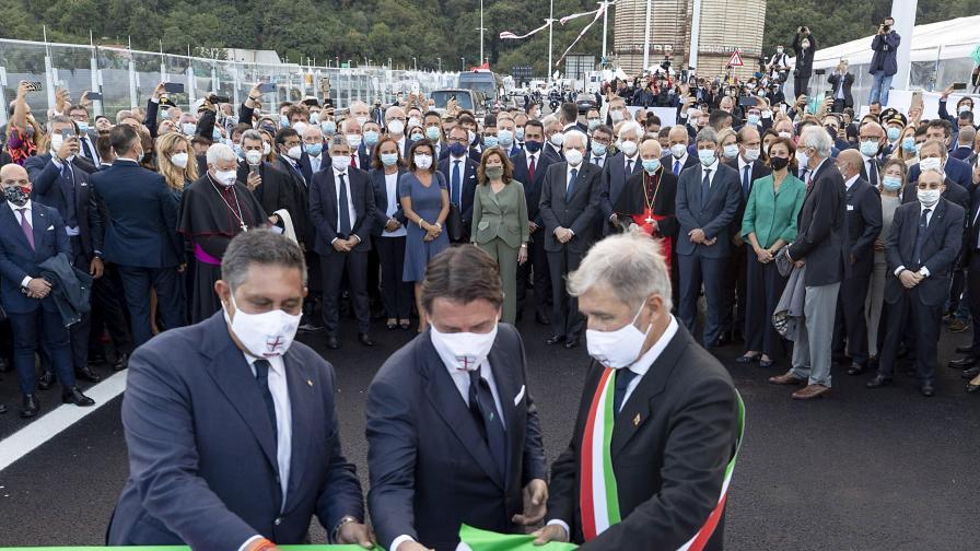 Президентът на Италия откри новия мост в...