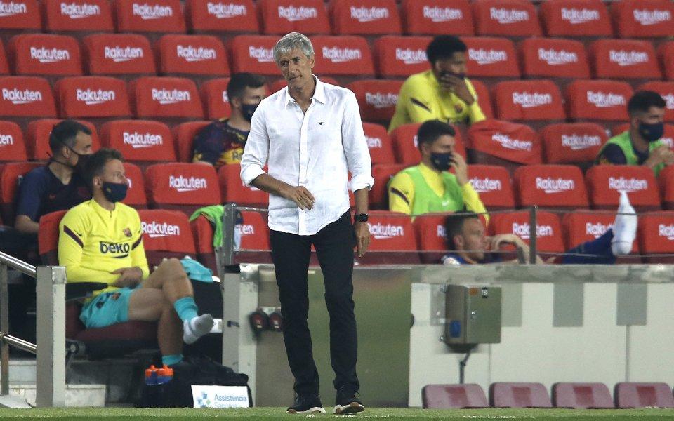 Треньорът наБарселонаКике Сетиене концентриран върху предстоящия мач сНаполив събота вечер.