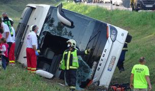 Катастрофа при връщане от България на автобус с туристи