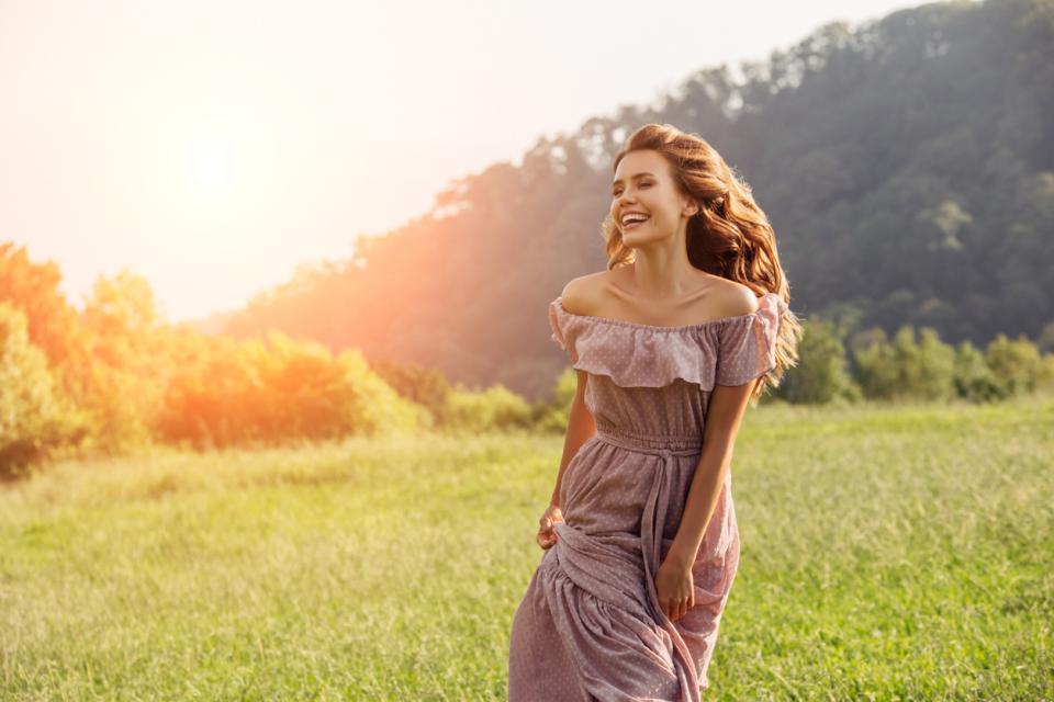 жена красота природа дневен рокля усмивка