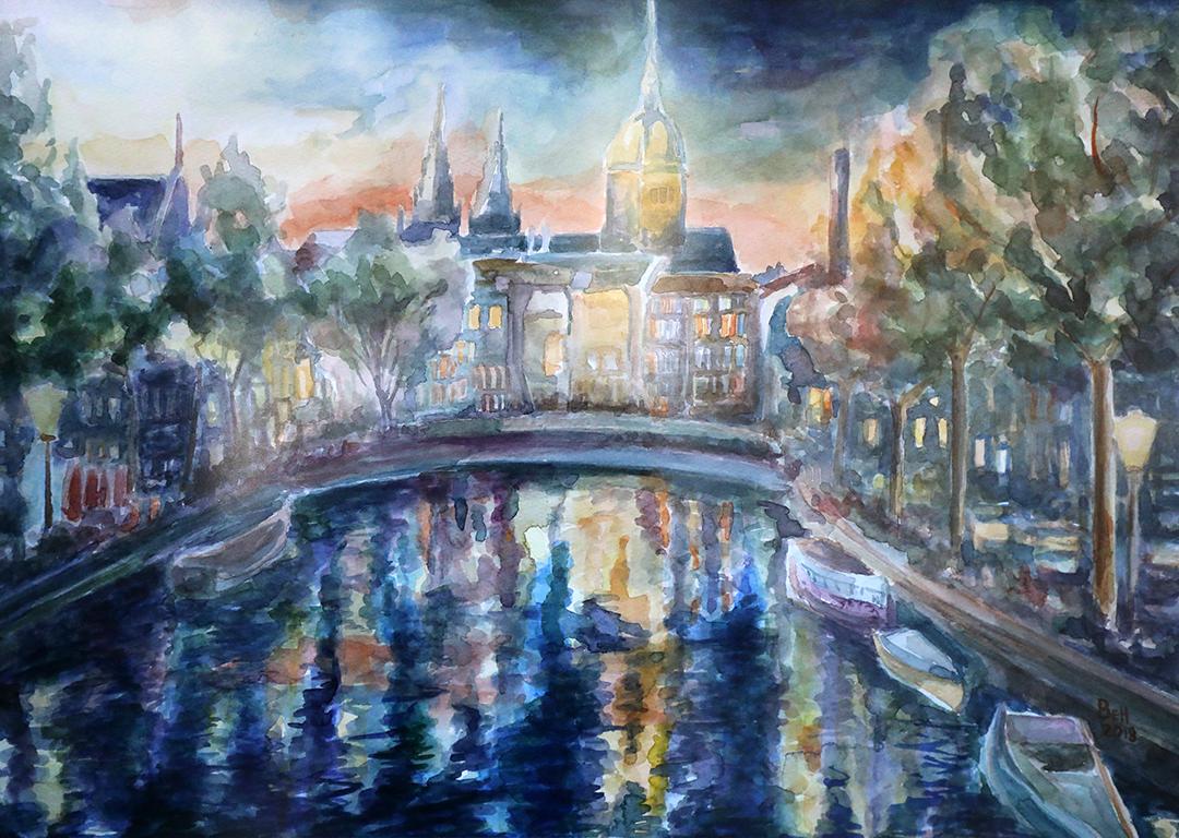 <p>Амстердамска привечер /акварел/</p>