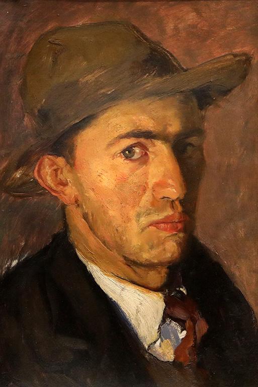 <p>Ненко Балкански, Автопортрет с шапка / средата на 30-те години на XX век</p>