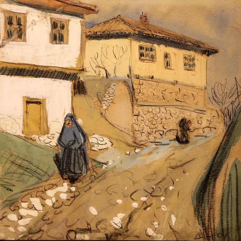 <p>Димитър Диолев (1898 &ndash; 1948)</p>  <p>Стара улица в Русе, 19.02.1928 гваш, акварел, креда, хартия</p>