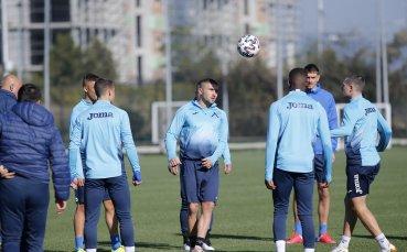 Футболистите на Левски се подготвят за Партизан