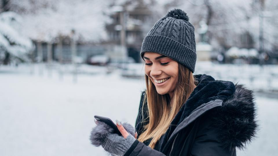 жена зима сняг усмивка