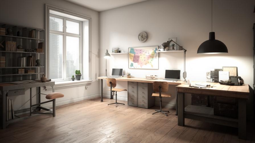 офис вкъщи прозорец светлина
