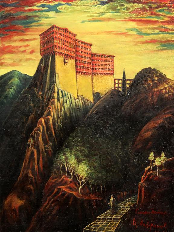 <p>Цанко Лавренов (1896-1978), Манастирът &quot;Симонопетра&quot; в Света гора, 1967-1970 г., маслени бои, платно, шперплат</p>