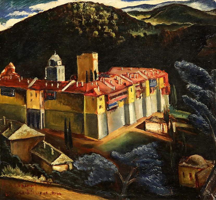 <p>Цанко Лавренов (1896-1978), Манастирът &quot;Ивирон&quot; в Света гора, 1935 г., маслени бои, платно, шперплат</p>