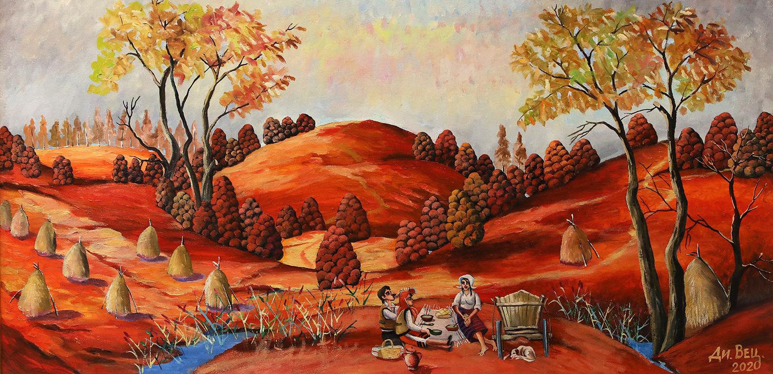 <p>Закуска на нивата, маслени бои, платно</p>