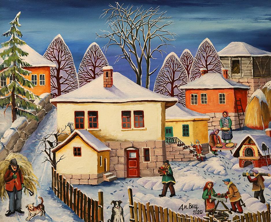 <p>Зима на село, маслени бои, платно</p>