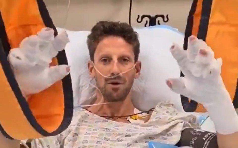 Пилотът на Хаас Ромен Грожан пусна видео от болничното си