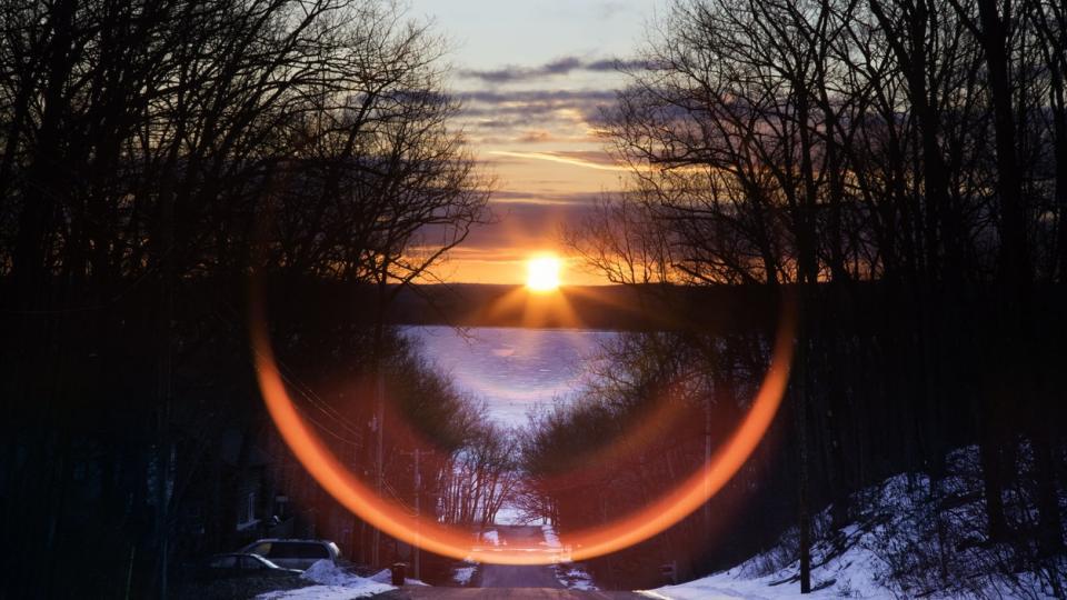 зима слънце природа залез