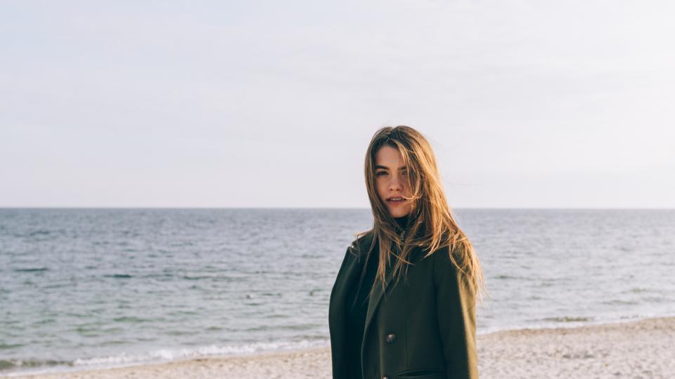 жена зима море природа плаж