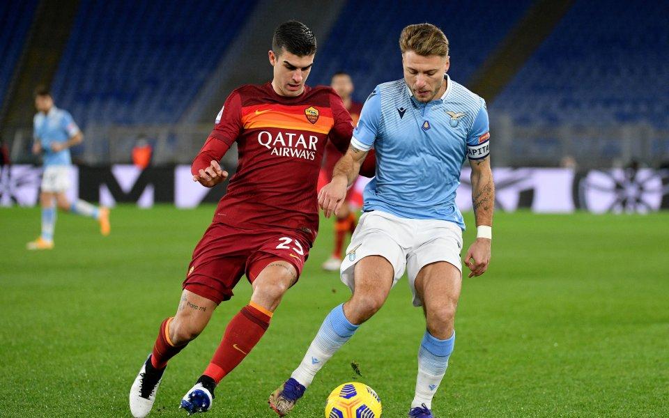 Лацио и Рома играят при резултат 3:0в първото в историята