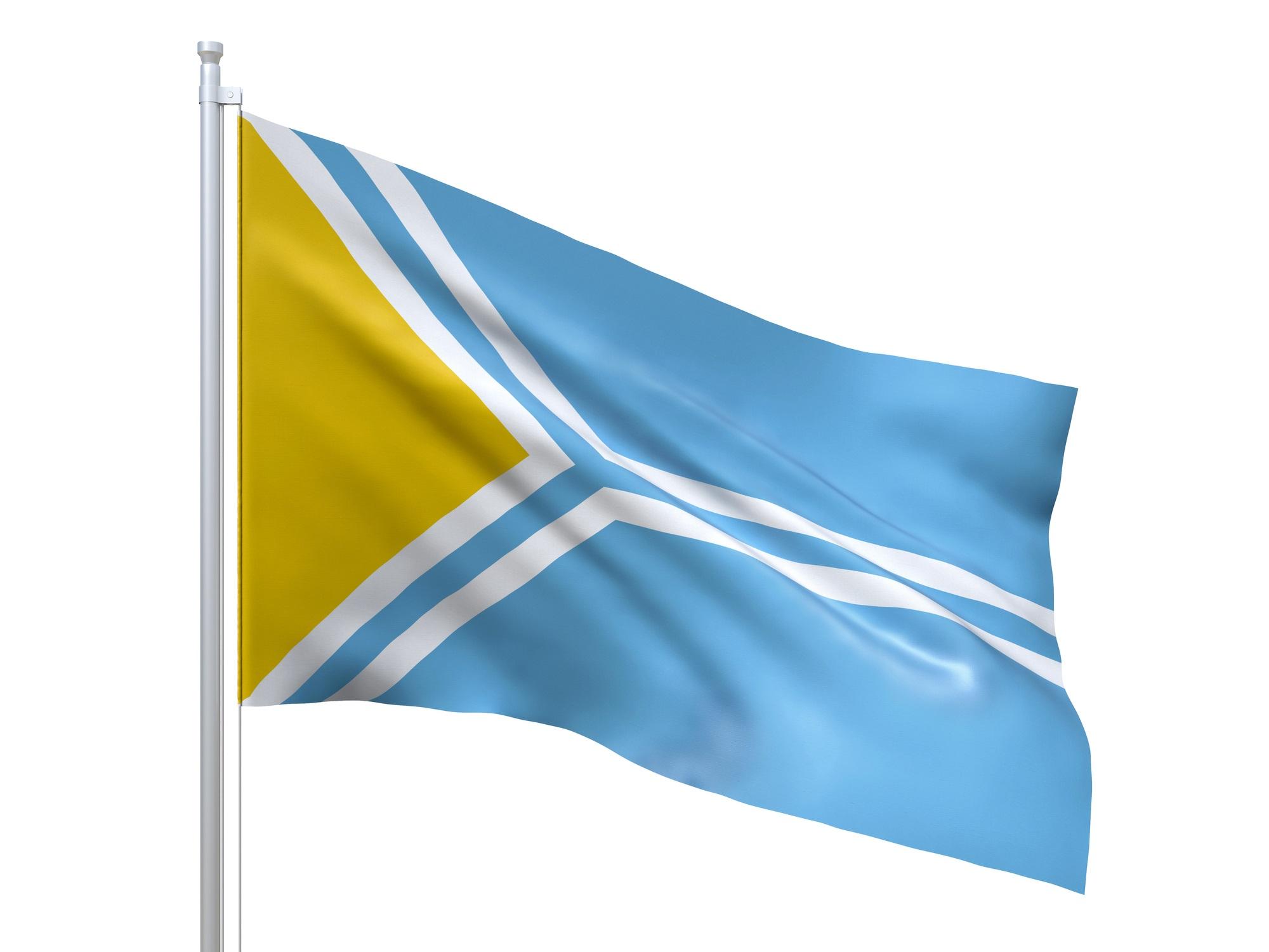 <p><strong>Народна република Тува</strong></p>  <p>През 1921 г., с подкрепата на Русия, болшевиките създават Народна република Тува, която е призната за независима само от СССР и Монголия. Държавата е просъществувала до 1944 г., когато е анексирана от СССР, а днес територията на Танну Тува (на снимката е съвременният флаг на Тува) е част от Руската федерация.</p>