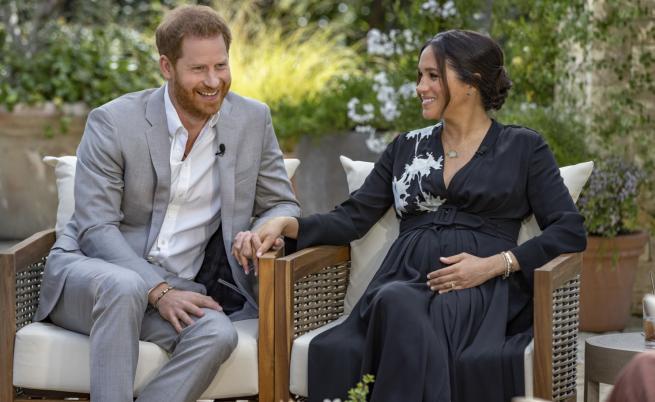 Принц хари и Меган Маркъл по време на интервюто с Опра Уинфри