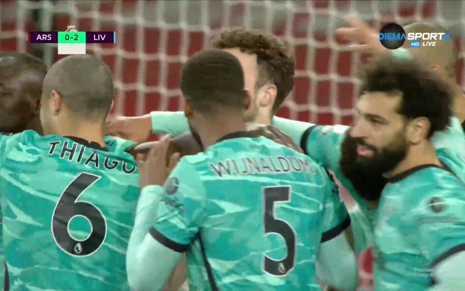 Отборът на Ливърпул разби Арсеналс 3:0в голямото дерби на 30-тия