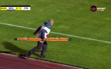 Сергей Георгиев е откаран с линейка от мача Монтана - Славия