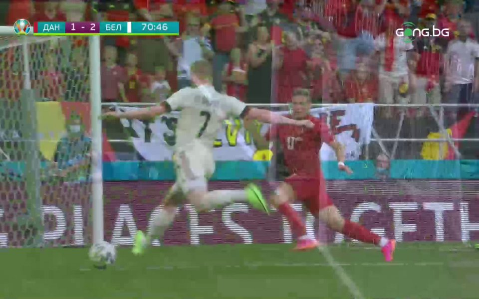Вижте победният гол на Кевин Де Бройне срещу Дания в