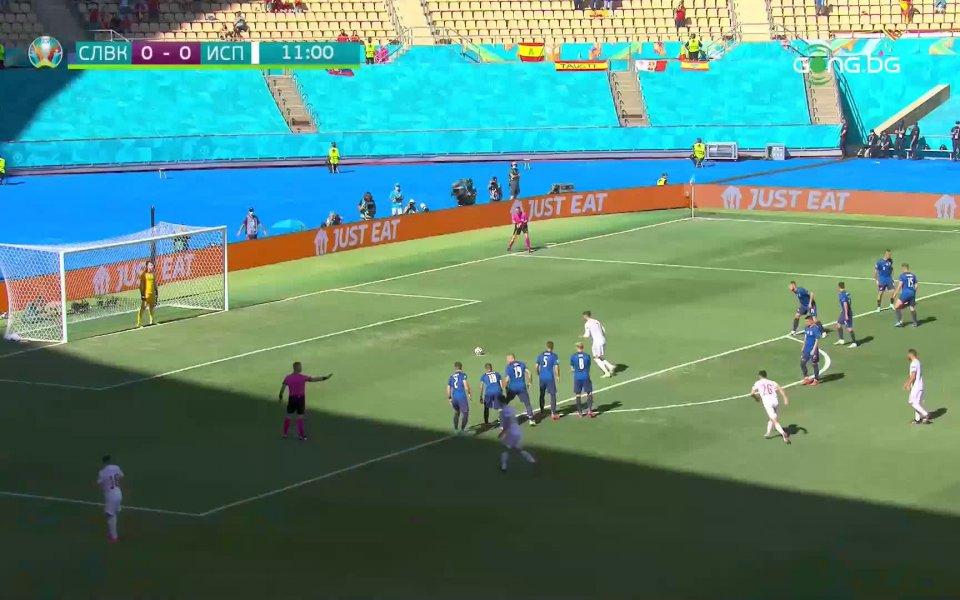 В 11-ата минута Испания получи право да изпълни дузпа. Хромада