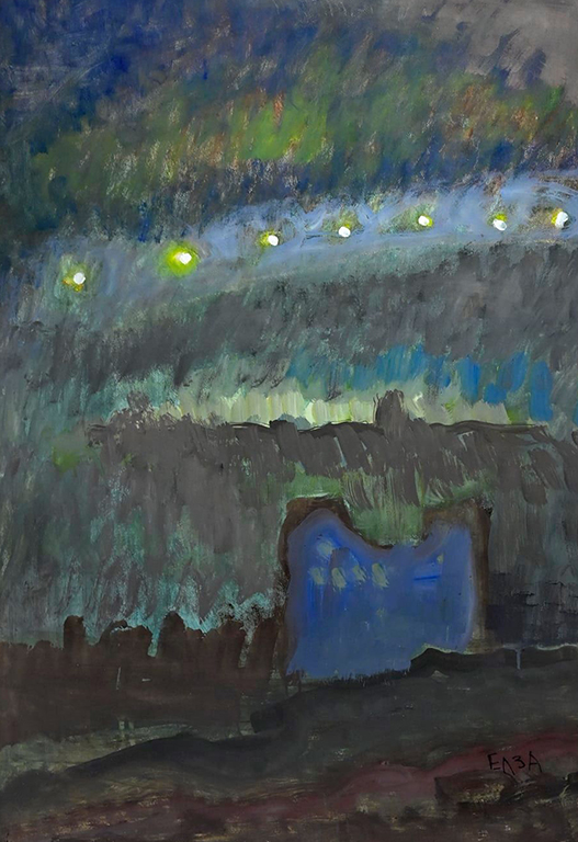 <p>Всеки ден, преди зазоряване Елза, притихнала и съсредоточена, работи пред статива и до ден днешен рисува своите изгреви, самотни лодки, морета, хоризонти, момичета........... както казва Калин Николов: &bdquo;Елза Гоева придава духовното в природата и човека. Интересува я интелектуалният характер на субективното, фокусирано около мотива за същностното в човека, в търсене на неговата неосезаема причинност.&ldquo;</p>
