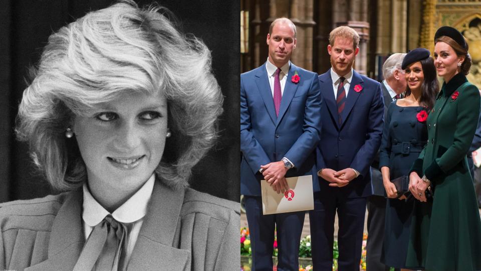 принцеса Даяна принц Уилям принц Хари Меган Маркъл Кейт Мидълтън колаж