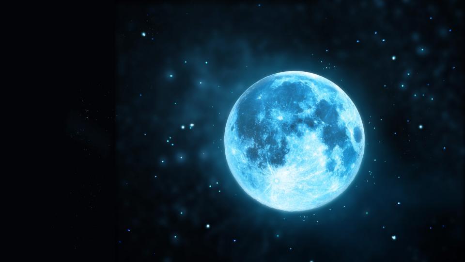 синя луна пълнолуние небе звезди астрология