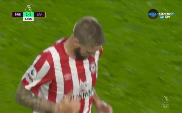 Втори гол за Брентфорд срещу Ливърпул