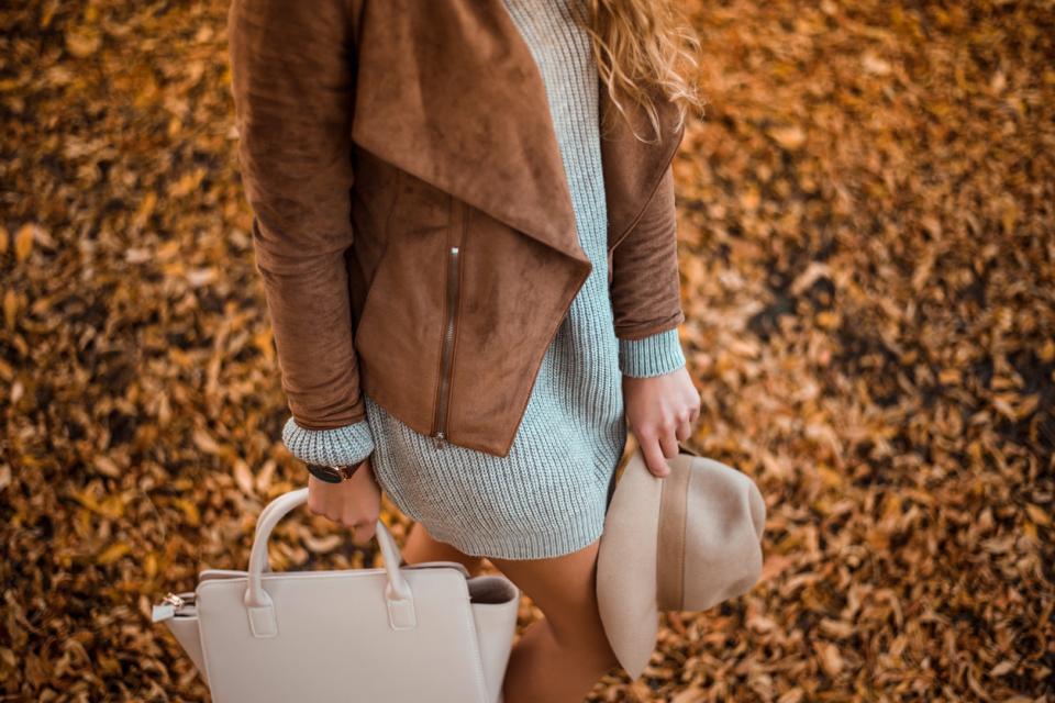 жена есен листа мода рокля