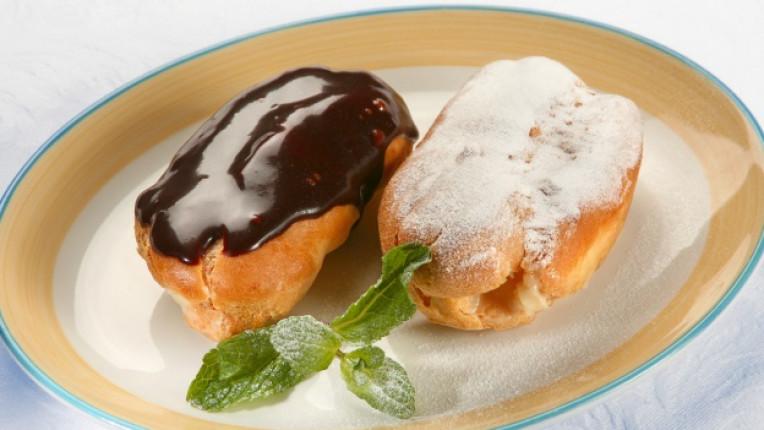 еклер десерт ванилов крем тава печене заливка тесто смес сладко